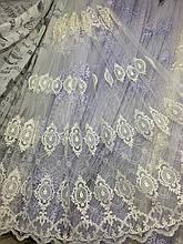 Турецкая фатиновая тюль с вышивкой 24Н5