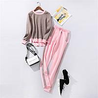 Жіночий костюм двоколірний кофта та штани рожевий розмір S/M