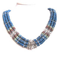 """Колье, браслет, серьги """"Голубой Нил"""" - керамика."""