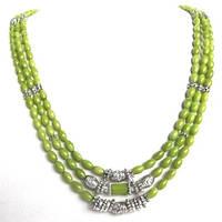 """Колье, браслет, серьги """"Весна"""" - зеленый коралл"""