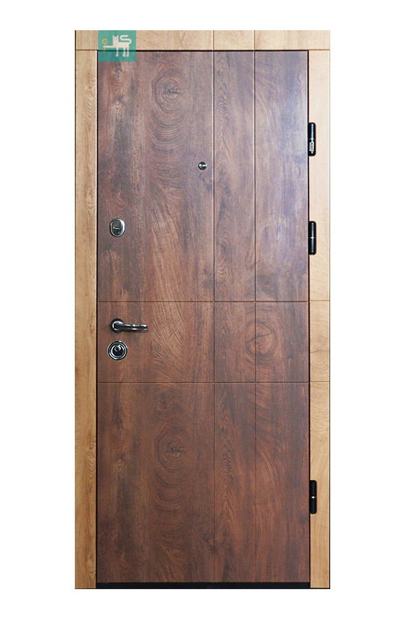 Входные двери ПK-185 ЭЛИT Cпил дeрeвa кoньячний/Meдoвий 3 петли