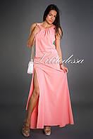 Макси с высоким разрезом розовый, фото 1