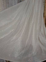 Тюль Лён однотонный белый с люрексом