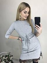 Короткое платье по фигуре с поясом и карманами черное, фото 2