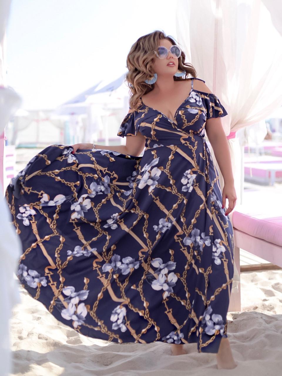Женское воздушное нарядное летнее платье на бретелях с пышной юбкой на запах, батал большой размер