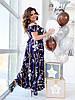 Женское воздушное нарядное летнее платье на бретелях с пышной юбкой на запах, батал большой размер, фото 9