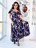 Женское воздушное нарядное летнее платье на бретелях с пышной юбкой на запах, батал большой размер, фото 8