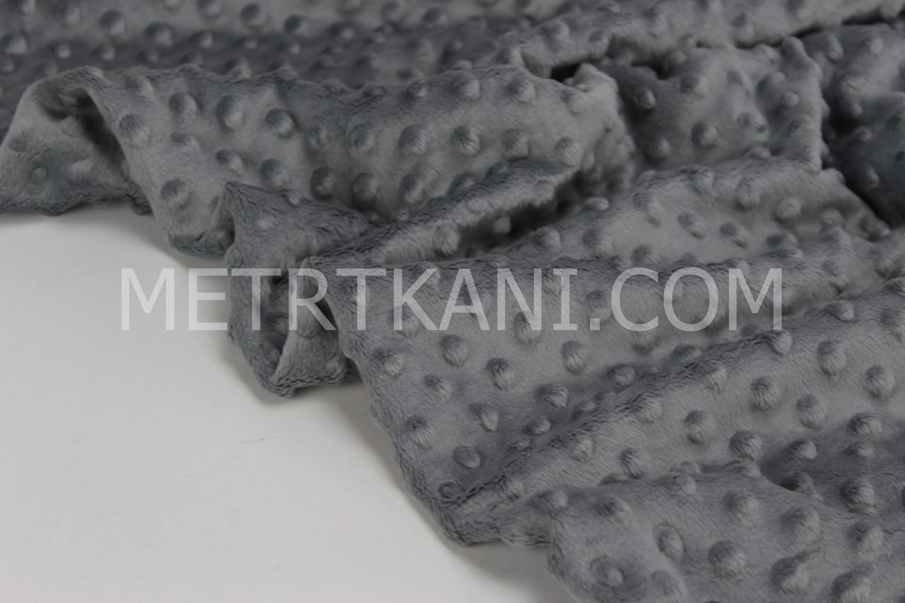 Плюш  minky серого цвета № м-10