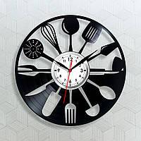 Годинник з вінілу Кухонні годинник Годинник з кухонних приладів Ложки на годиннику Вінчик для кухні Години 30 сантиметрів