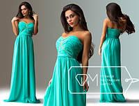 Сказочно красивое платье из светло-бирюзового шифона, р.XS