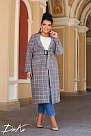 Пальто женское в клетку,с поясом