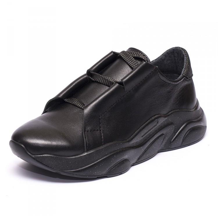 Кроссовки кожаные черные 931-31