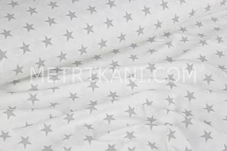 """Ткань хлопковая """"Густые серые звезды 2 см"""" на белом №755"""