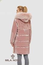 Женский комбинированный пуховик с опушкой из натурального меха енота, фото 2