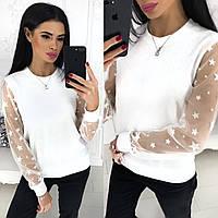 Стильная женская кофта свитер с разрезами и длинным рукавом белая S-M L-XL