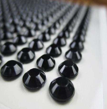 Камені самоклеючі (клейові стрази) 8 мм чорні 220 шт