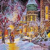 """Схема для вышивки бисером на натуральном художественном холсте """"Зима в городе"""""""