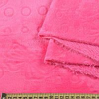 Велсофт двухсторонний с тиснением бабочки розовый яркий, ш.200