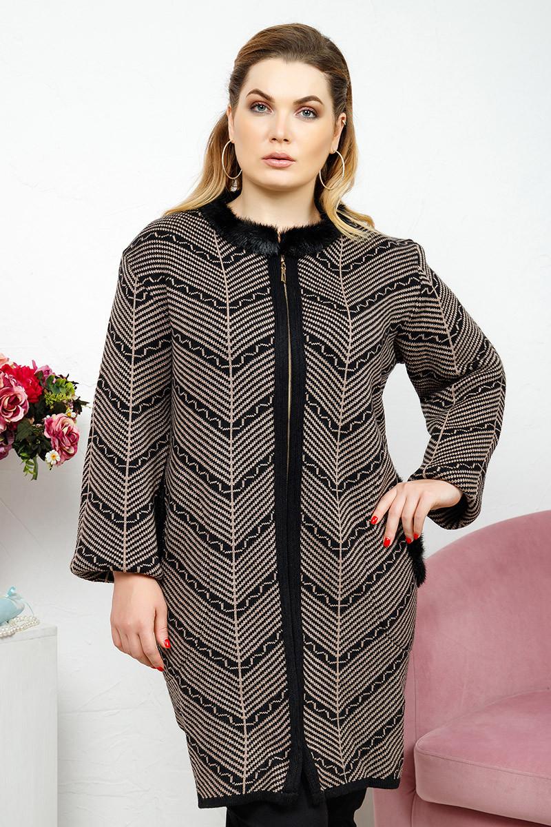 Кардиган-пальто мех