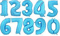 Воздушные фольгированные шары в форме цифр от 0 до 9 100 см цвет голубой одна цифра