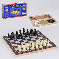 Шахматы деревянные С 36810 (80) 3 в 1, в коробке