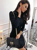 Классическое приталенное  платье мини черное