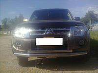 Защита переднего бампера (двойной ус/губа) Mitsubishi pajero wagon IV (митсубиси паджеро вагон 4) 2005г+
