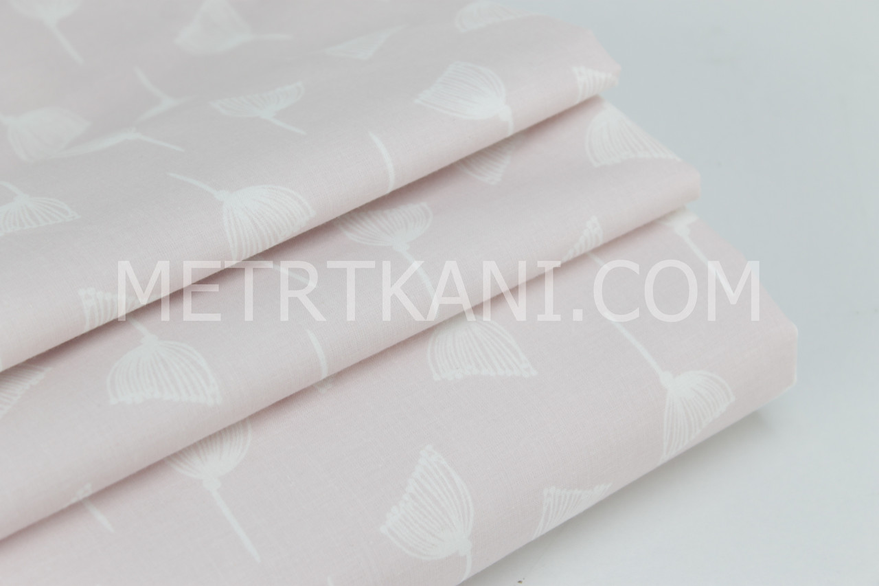 Ткань, хлопок премиум класса одуванчики на пудрово-розовом фоне №1-665