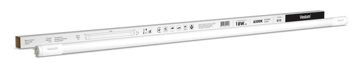 Лампа LED Vestum T8 1200мм 18W 1600Лм 6500K 175-250V G13