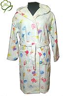 Короткий женский махровый халат с капюшоном. р. 48-50.Турция