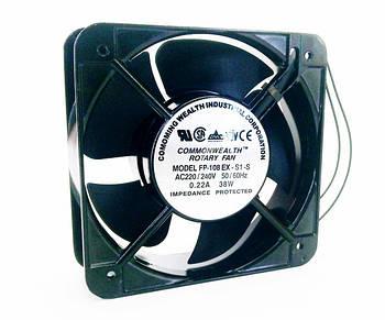 Вентилятор на витяжку чорний (алюмінієвий) 150*150*50