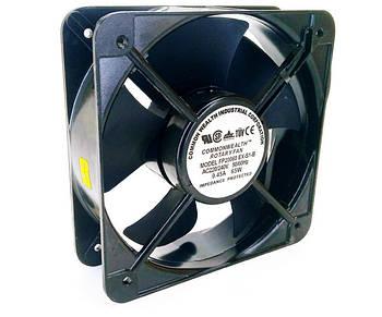 Вентилятор на витяжку чорний (алюмінієвий) 200*200*60 ST227