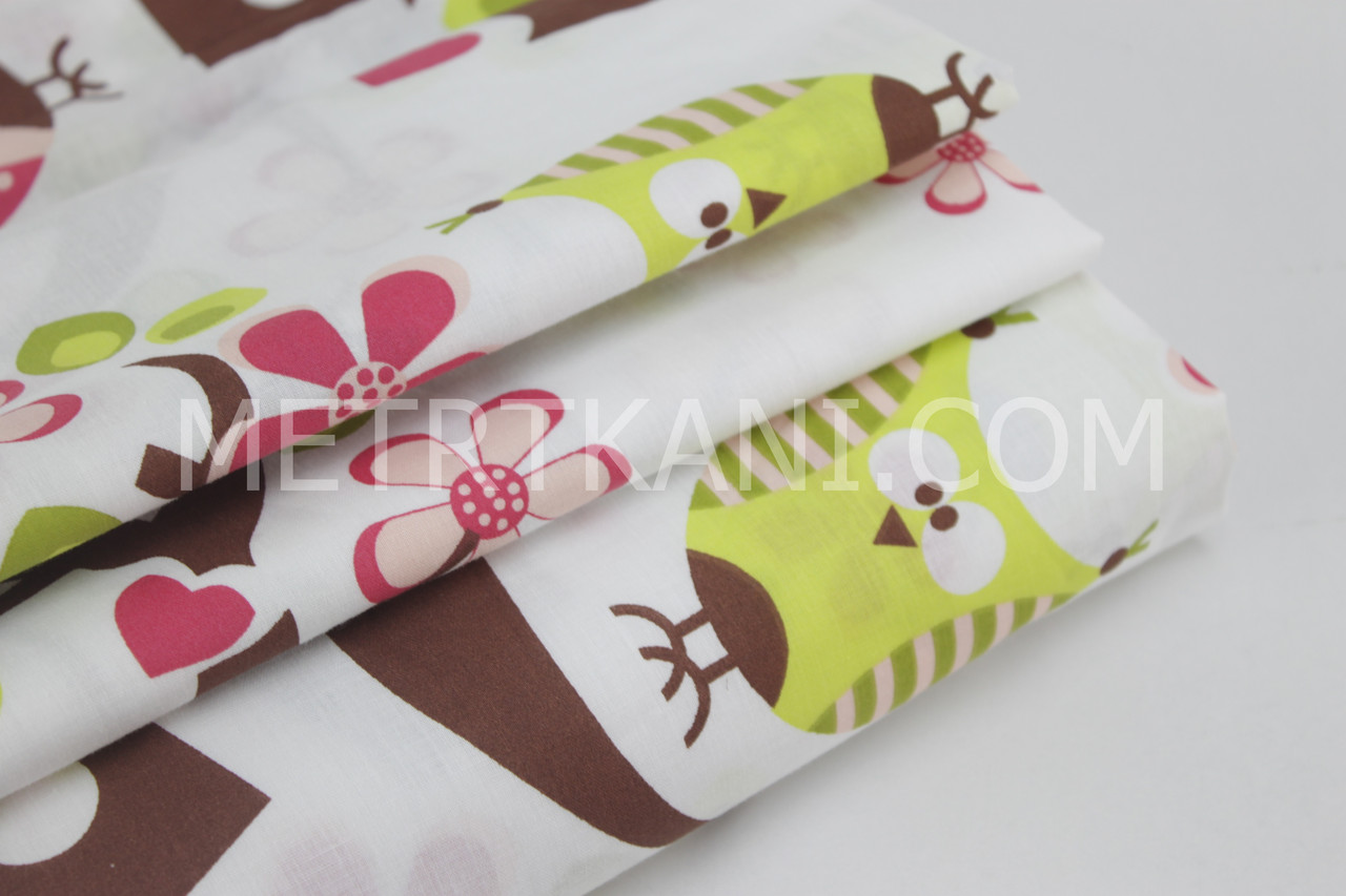 Тканина бавовняна преміум класу з дерева сакури і сови №068