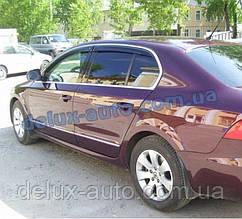 Ветровики Cobra Tuning на авто Skoda Superb II Sd 2008 Дефлекторы окон Кобра для Шкода СуперБ 2 седан с 2008