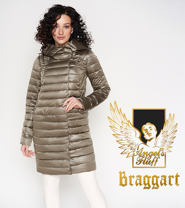 Braggart Angel's Fluff 28215 | Длинный воздуховик весенне-осенний капучино  р.  42