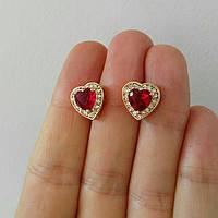 Позолоченные серьги сердце с розовым Swarovski бижутерия