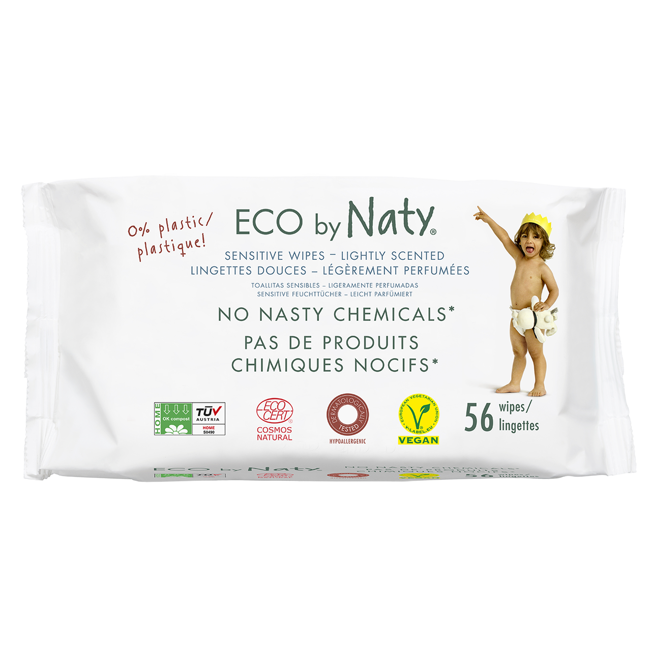Органические салфетки Eco by Naty с легким запахом 56 шт