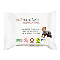 Органические салфетки Eco by Naty без запаха для путешествий, 20 шт., фото 1