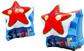 Нарукавники на море/в бассейн 56651 Звезды, из сверхпрочного ПВХ-винила, с декоративным элементом, 2 камеры