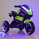 Дитячий електромобіль Мотоцикл M 4135 L-5, Шкіра Світло коліс, зелений, фото 6