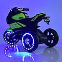 Дитячий електромобіль Мотоцикл M 4135 L-5, Шкіра Світло коліс, зелений, фото 7