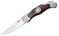 Нож складной с металлической и деревянной рукояткой, массивный, коричневого цвета с узором, стильный