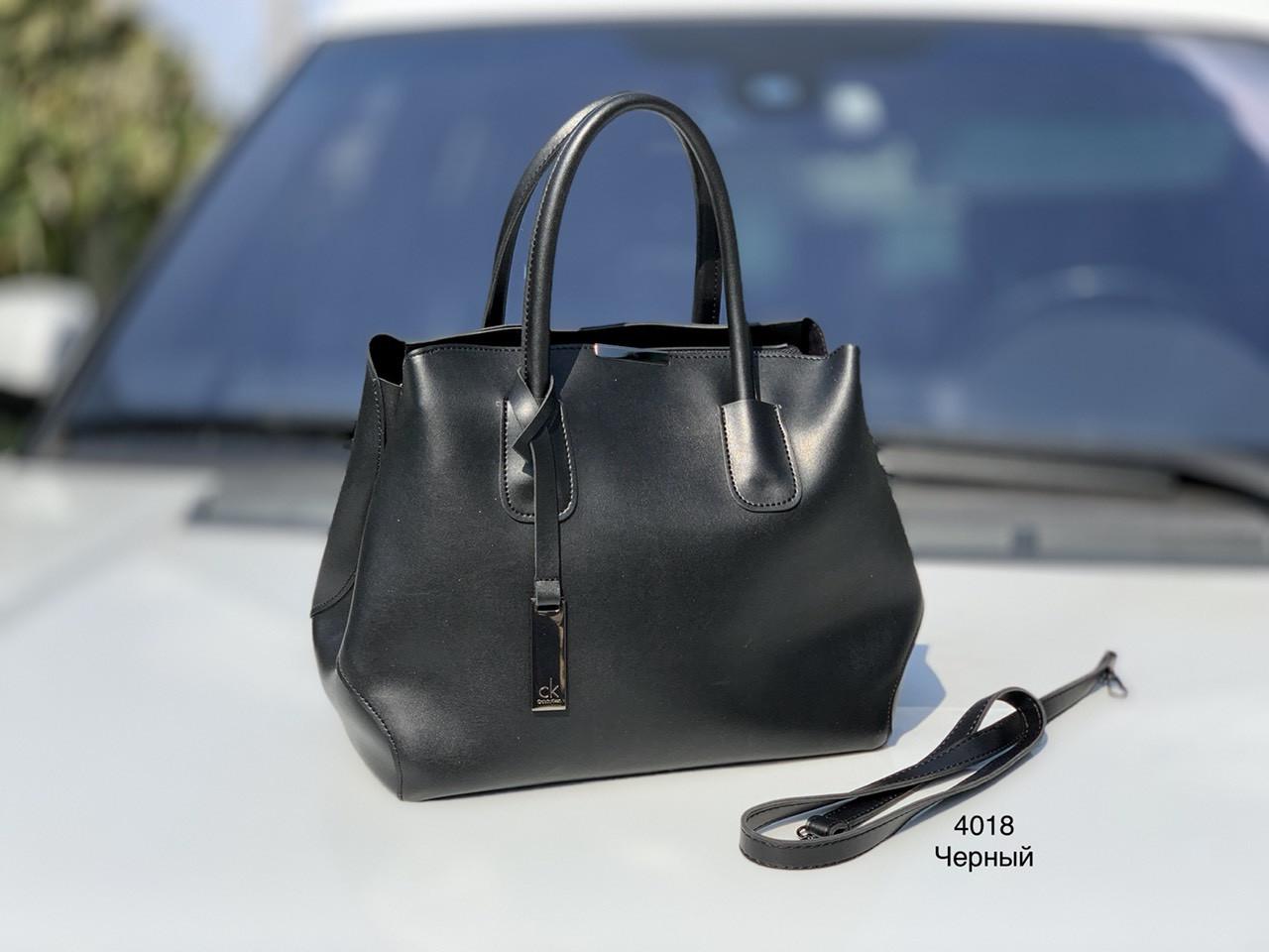 Классическая черная женская сумка на плечо городская сумочка экокожа