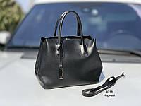 Классическая черная женская сумка на плечо городская сумочка экокожа, фото 1