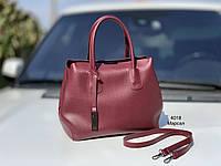 Классическая бордовая женская сумка на плечо городская сумочка марсала экокожа, фото 1