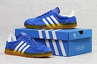 Кроссовки мужские ярко голубые Adidas Gazelle Indoor 5527