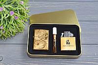 Электроимпульсная (USB) + бензиновая зажигалки в подарочной коробке + мундштук, фото 1