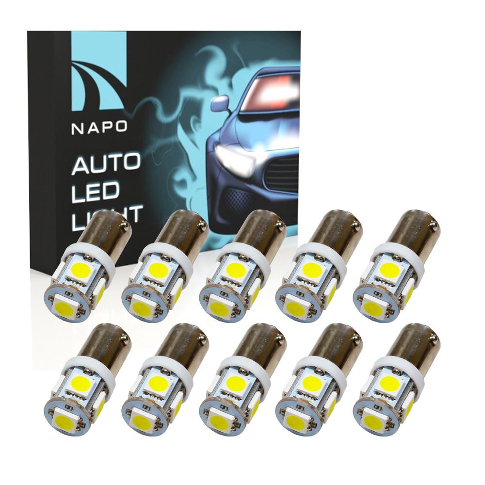 Автолампа диодная BA9S-5050-5smd, комплект 10 шт, T4W, 1155, цвет свечения белый