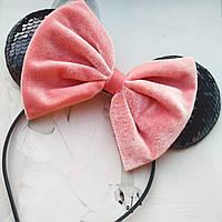 Ушки Минни Маус с бантиком черный с розовым