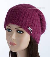 Красивая вязаная шапочка Ребекка цвет кардинал